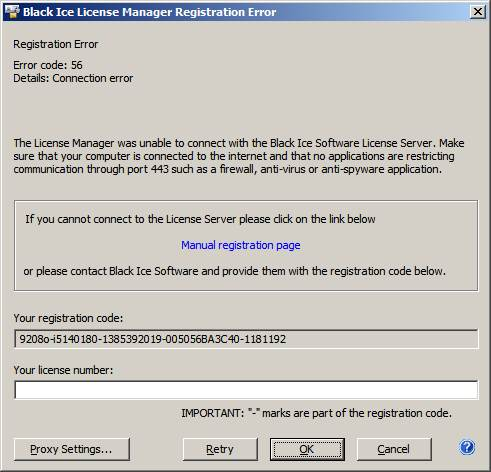 Failed Licensing with Black Ice License Manager
