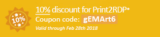 10% discount for Print2RDP Coupon code: gEMArt6