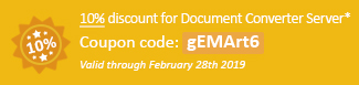 10% discount for Document Converter Server Coupon code: gEMArt6