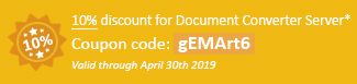 10% discount for Document Converter Server Coupon code: gEMArt6