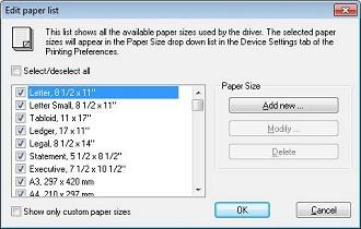 Edit paper list dialog
