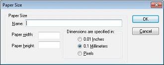 Edit paper size dialog