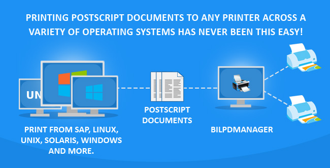 Print PostScript documents to ANY printer from SAP, Linux, Unix, MAC, Solaris with BiLPDManager!