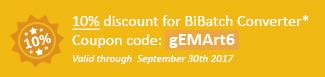 10% discount for BiBatch Converter Coupon code: gEMArt6