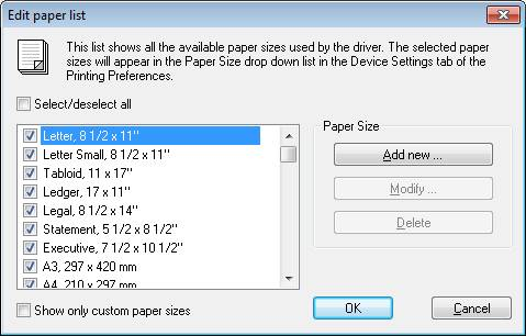 Large paper size support for Printer paper size