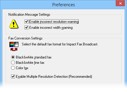 Fax Broadcast Preferences