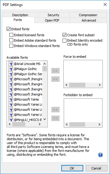 PDF Font Embedding Options - Licensed ColorPlus Printer