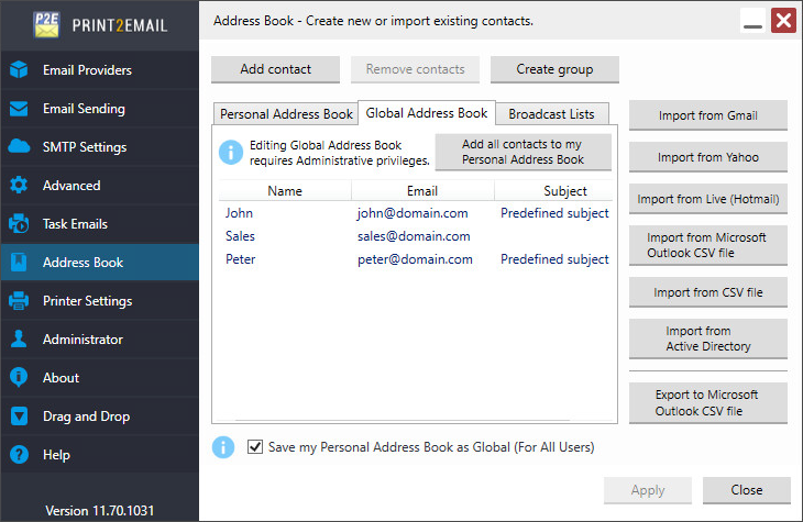 Print2Email Global and Personal Address Book