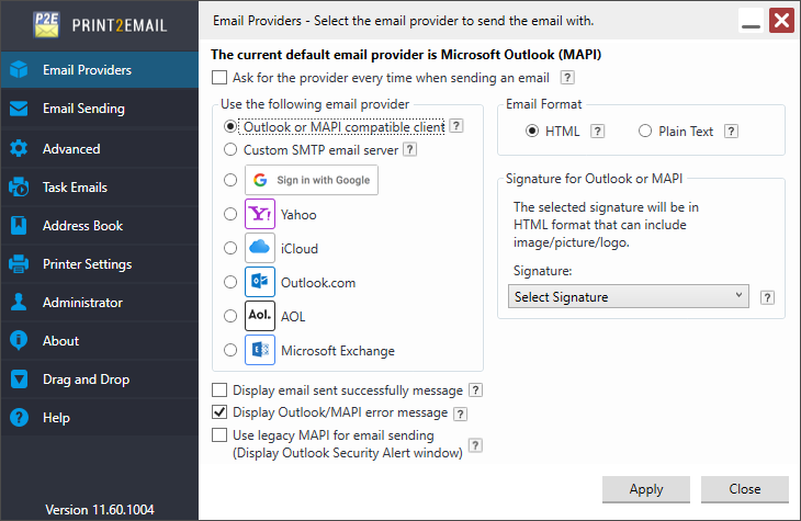 Print2Email General Settings