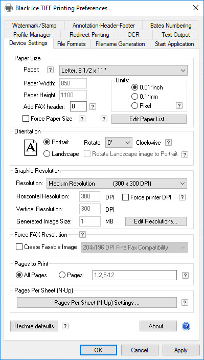 TIFF/Monochrome Printer Drivers - OEM Black Ice TIFF