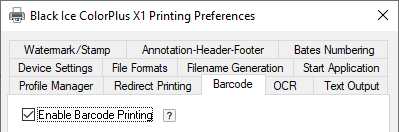 Create Barcode with Black Ice Printer Divers X1 Tab